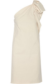One-shoulder stretch linen-blend dress