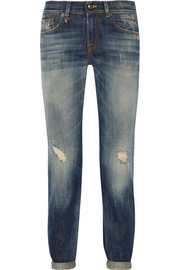 R13 Distressed mid-rise slim boyfriend jeans