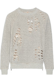 Shredded cotton-jersey sweatshirt