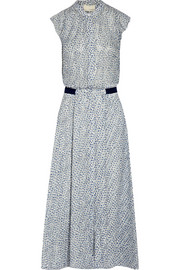Printed Swiss-dot silk midi dress