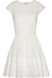 Lace-trimmed cotton-gauze dress