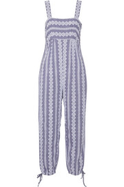 Band of Outsiders Stripe Eyelet cotton-chambray jumpsuit
