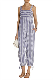 Stripe Eyelet cotton-chambray jumpsuit