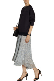 Band of Outsiders Scribble Flower Althea silk fil coupé midi skirt