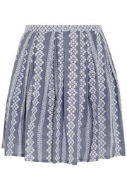 Embroidered cotton-chambray mini skirt