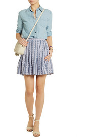 Band of Outsiders Embroidered cotton-chambray mini skirt