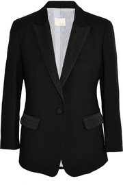 Band of Outsiders Faille-trimmed wool-piqué blazer