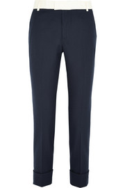 Basketweave cotton tapered pants