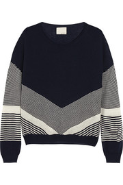 Band of Outsiders Color-block silk and cashmere-blend sweater