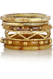 Umbo set of 6 horn and gold-tone bangles
