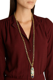 Ashley Pittman Machozi gold-tone, horn and multi-stone necklace