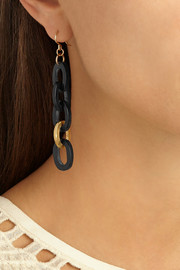 Ashley Pittman Mara gold-tone and horn earrings