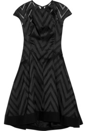 Chevron-paneled organza and twill dress