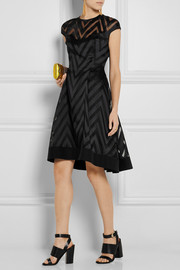 Lela Rose Chevron-paneled organza and twill dress