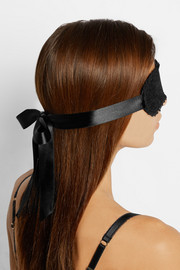 L'Agent by Agent Provocateur Esthar appliquéd lace and satin eye mask