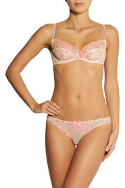 L'Agent by Agent Provocateur Clementina embroidered stretch-tulle plunge bra