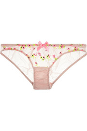 Clementina embroidered stretch-tulle briefs