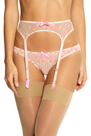 Clementina embroidered stretch-tulle suspender belt