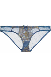 Iana metallic lace-paneled tulle briefs