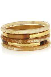 Nuru set of five horn and gold-tone bangles
