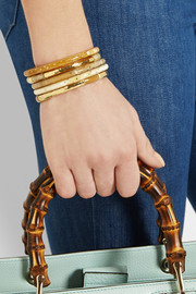 Ashley Pittman Nuru set of five horn and gold-tone bangles