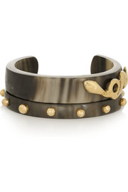 Ashley Pittman Mkono and Nyoka set of two horn and gold-tone cuffs