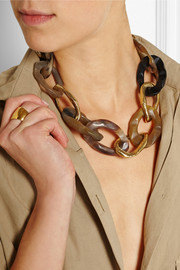 Ashley Pittman Kiungo horn and gold-tone necklace
