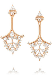 Fusion Triangle 18-karat rose gold, diamond and topaz earrings