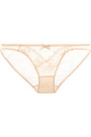 Mirabel lace and Swiss-dot stretch-tulle briefs