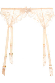 Mirabel lace and Swiss-dot stretch-tulle suspender belt