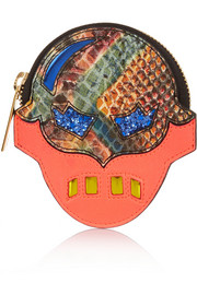 Stella McCartney Superhero snake-effect faux leather coin wallet