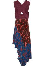Caroline asymmetric printed silk and crepe dress