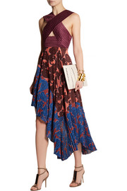 Stella McCartney Caroline asymmetric printed silk and crepe dress