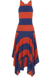 Asymmetric striped silk dress