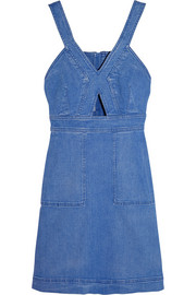 Cutout denim mini dress