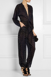 Stella McCartney Monia silk-blend fil coupé jumpsuit