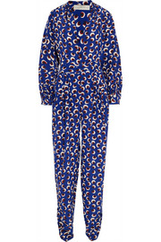 Monia printed silk crepe de chine jumpsuit