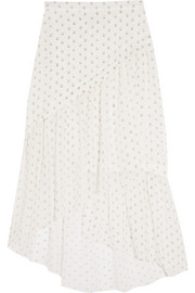 Stella McCartney Leah tiered silk-blend fil coupé skirt