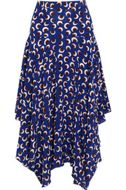 Printed silk crepe de chine skirt