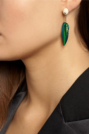 Bibi van der Velden Sterling silver, scarab, tsavorite and sapphire earrings
