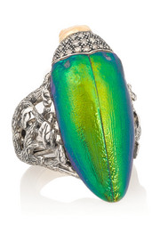 Sterling silver, scarab, diamond and tsavorite ring