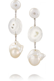 Sterling silver, solar quartz and pearl earrings