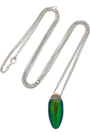 Sterling silver, scarab, diamond and tsavorite necklace