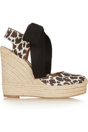 Leopard-print canvas wedge espadrilles