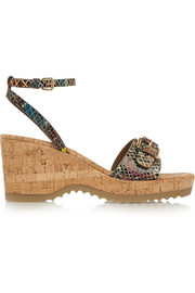 Snake-effect faux leather wedge sandals
