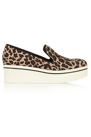 Leopard-print canvas slip-on sneakers