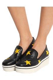 Snake-effect faux leather slip-on sneakers