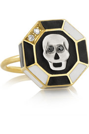 Skull 18-karat gold diamond ring