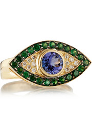 Evil Eye 18-karat gold multi-stone ring