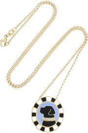 Labrador 18-karat gold, enamel and diamond necklace